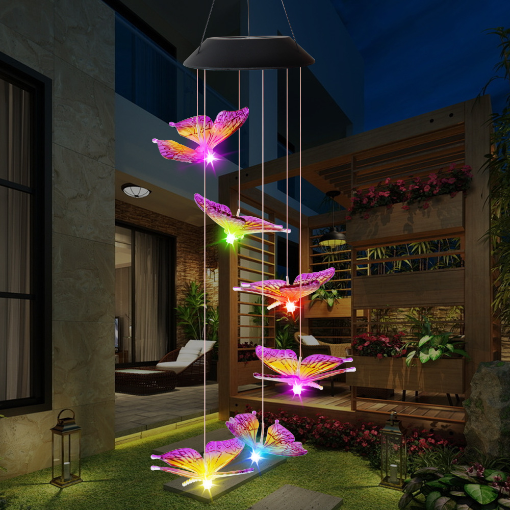 cheapest Butterfly Wind Chime lights Solar Powered Garden Yard Hanging Spinner Lamp Decor Outdoor solar waterproof wind chime light D30