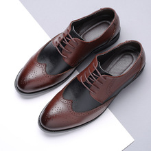 Men's Casual Brogue Leather Shoes Business Suit British Style Pointed Toe Shoes Male Fashion Wedding Dress Shoes Formal Shoes стоимость
