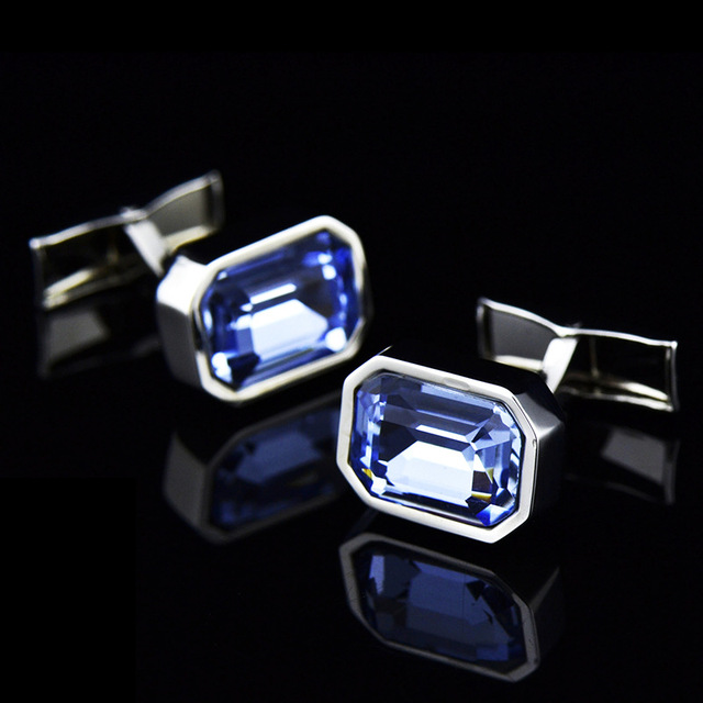 Men's French Classic High Grade Simple Blue Crystal Cuff Links 4