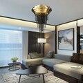 Роскошная золотая люстра освещение для столовой гостиной Креативный дизайн Черная хрустальная лампа кафе гардероб светодиодные люстры
