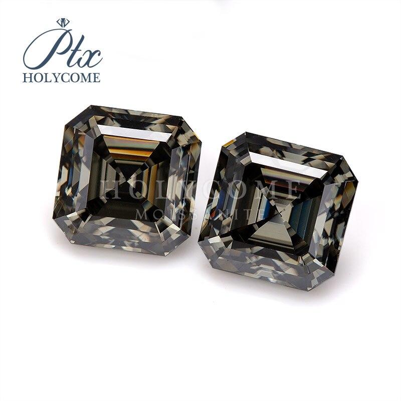 Gray color fashion stones asscher cut moissanite diamond gemstones 1ct just one piece