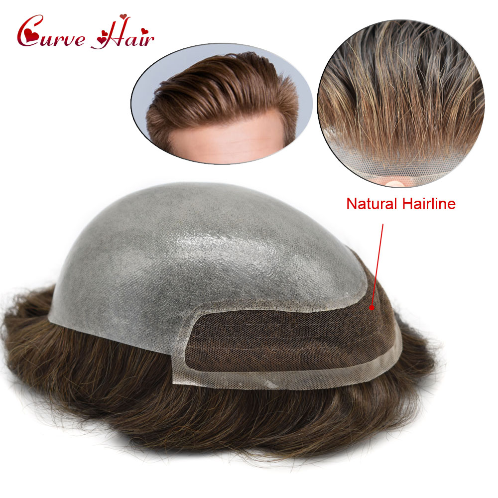 Lace Front Men Toupee Clear Poly Indian Remy Hair Pieces 8X10