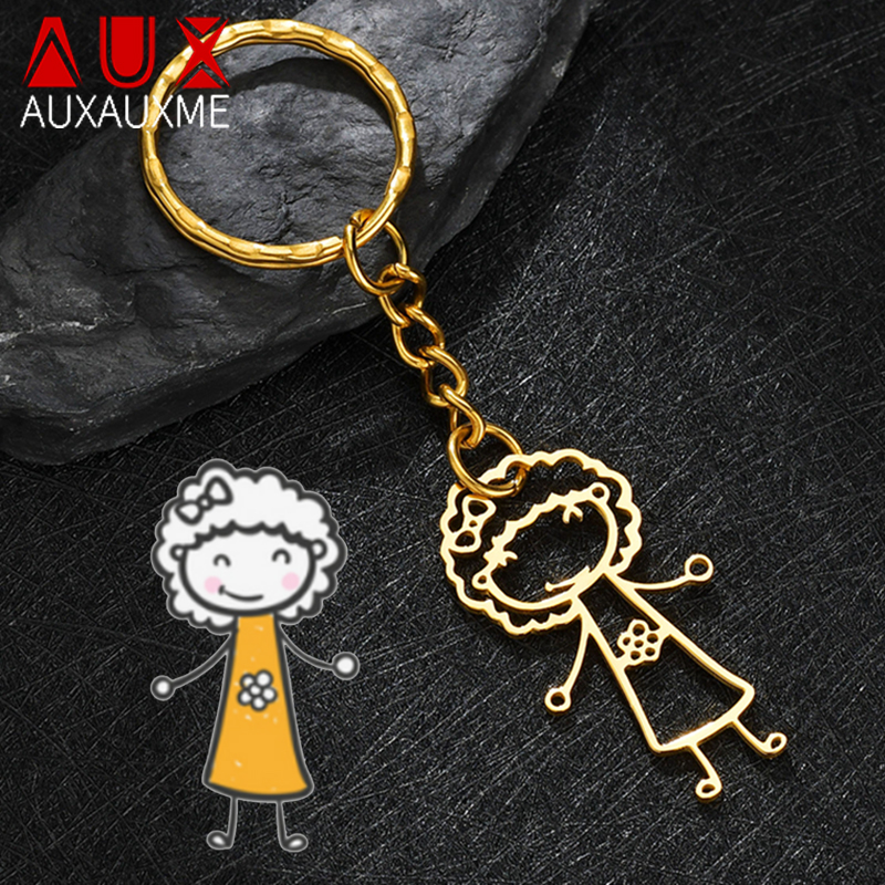 Auxauxme Customized Children's Drawing Keychain Stainless Steel Kid's Art Personalized Custom Name Keyring Christmas Kids GIFT