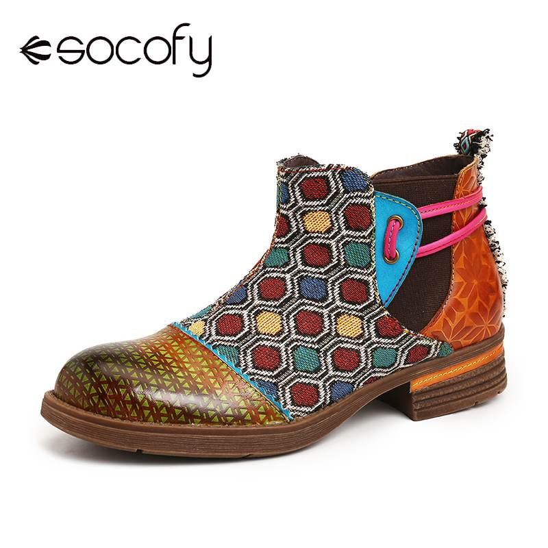 SOCOFY Retro Colorful Boots Hexagon Pattern Genuine Leather Splicing Flat Ankle Boots Exquisite Women Shoes Botas Mujer 2020