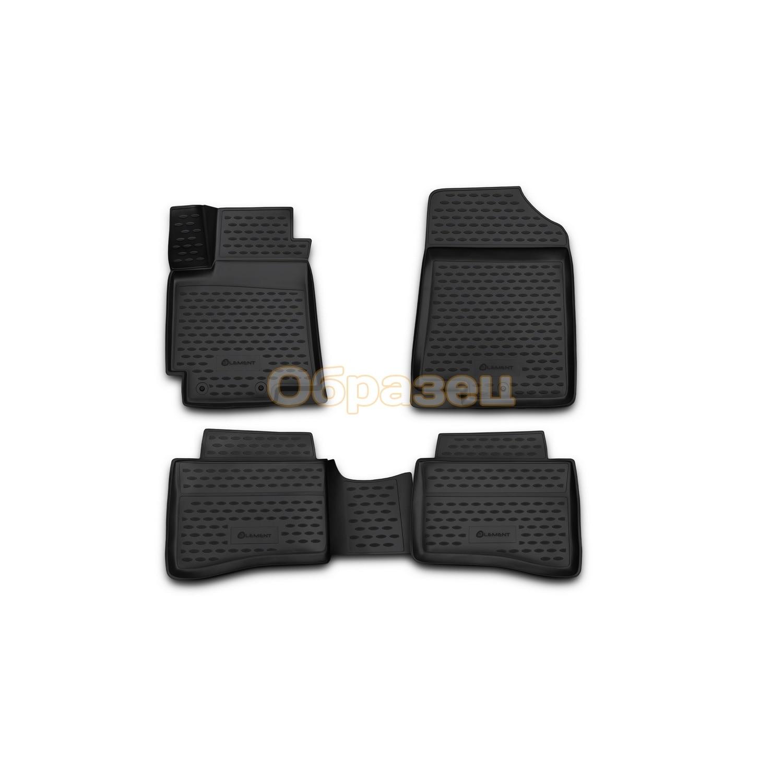 3D mats in salon Toyota Land Cruiser 200 11/2007 2012 4 PCs (полиур Floor Mats     - title=