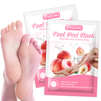 Putimi Peach Feet Mask Remove Dead Skin Cuticles Heels Socks for Pedicure Exfoliating Foot Mask Foot Peeling Mask Foot Care 1