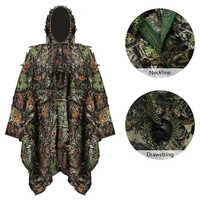 Tactical 3D Leaf Woodland Cloak Camouflage Hunting Clothes + Pants Ghillie Suit Outdoor War Game Airsoft Men Poncho Windbreaker
