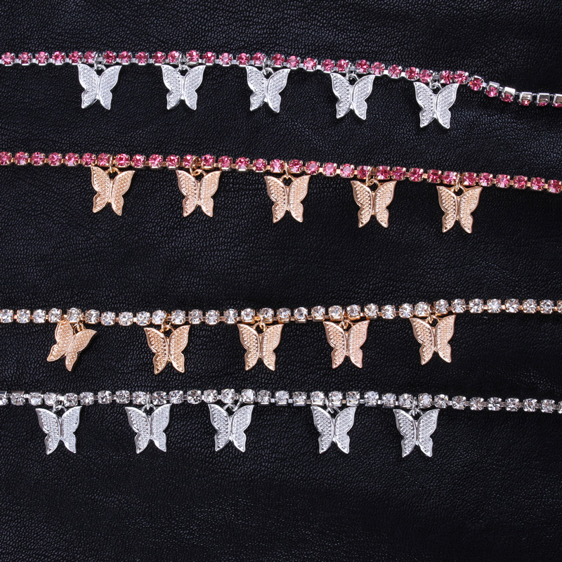 2020 Bohemia Butterfly Anklet Crystal Gold Silver Colour Butterfly Rhinestone Foot Anklet Sea Beach Butterfly Anklet Jewelry