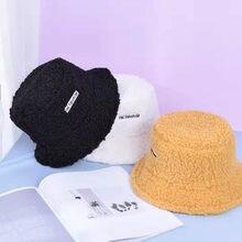 Faux Lamb Bucket Hat Ladies Thick Warm Retro Velvet Winter Hat Ladies Bob Panama Outdoor Sunscreen Hip Hop Plush Fisherman Hat