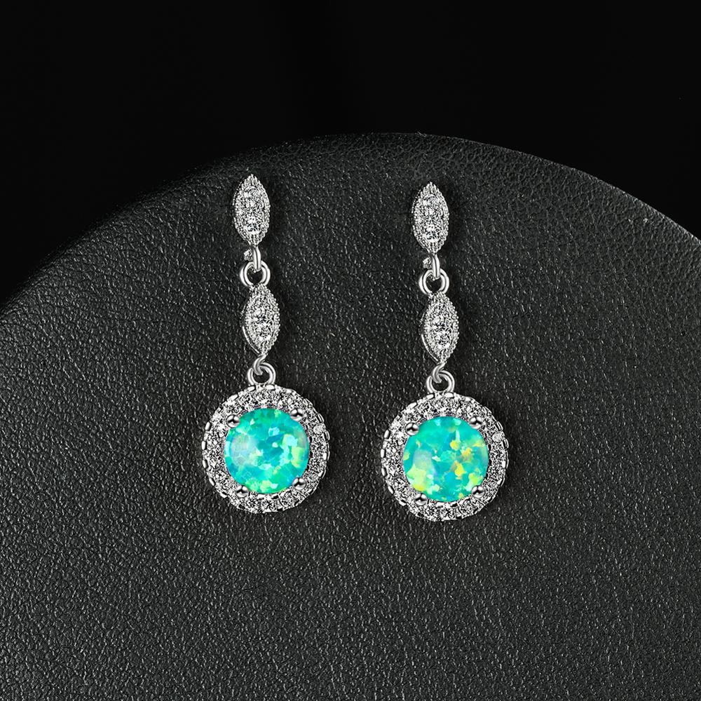 White Blue Green Opal Round Stone Drop Earrings For Women Wedding Jewelry Vintage Fashion Rose Gold/Silver Color Dangle Earrings