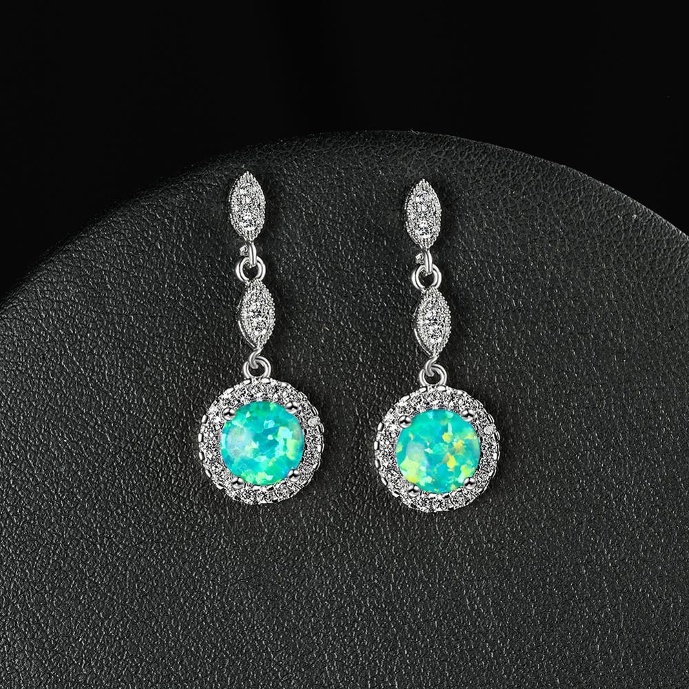 Висячие серьги с белым, синим, зеленым опалом и круглым камнем для женщин, свадебные украшения, винтажные модные висячие серьги цвета розово...