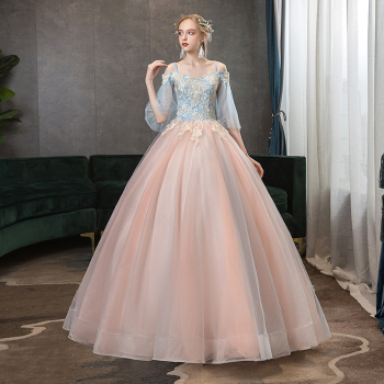 Quinceanera Dresses Contrast Color Prom Dress Off The Shoulder Luxury Embroidery Ball Gown Spaghetti Strap Vintage Party - discount item  32% OFF Special Occasion Dresses