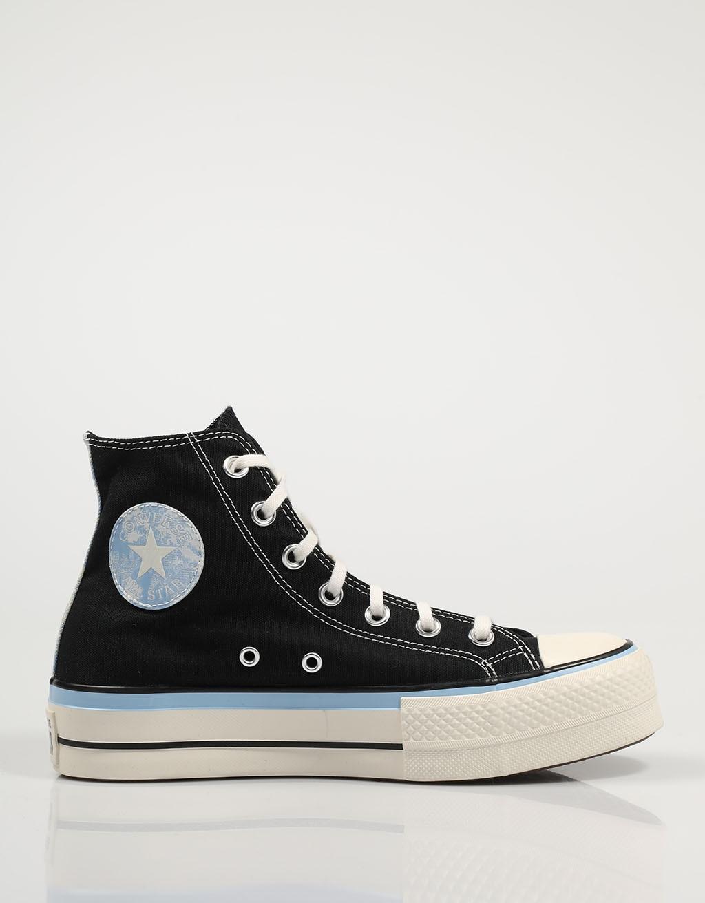 CONVERSE ZAPATILLAS CTAS LIFT BLACK/BLUE 571582C Negro Lona Mujer – Black SNEAKERS Woman Shoes Casual Fashion 76500