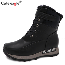 Cute Eagle  Girls Boots Waterproof Big Kids Boots Warm Plush Mid-Calf Boys Snow Boots Children Winter Shoes winter plush mid calf boots shoes boys warm children shoes little girls snow boots kids fashion shoes hot sale aa11143