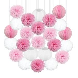 Image 1 - 24 pz/set Rosa Blu Viola Lanterna di Carta Del Tessuto Pompon Fiore Palla A Nido Dape di Baby Shower Bambini Festa di Compleanno Decorazione di Cerimonia Nuziale