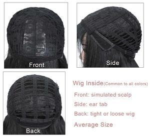 Image 5 - COSYCODE peluca negra con flequillo para mujer, larga, ondulada, sintética, no encaje, disfraz con Peluca de 60 cm