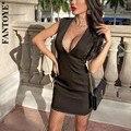 Женское Сетчатое платье Fantoye, черное прозрачное платье без рукавов с глубоким v-образным вырезом, Весенняя Повседневная Уличная одежда для н...
