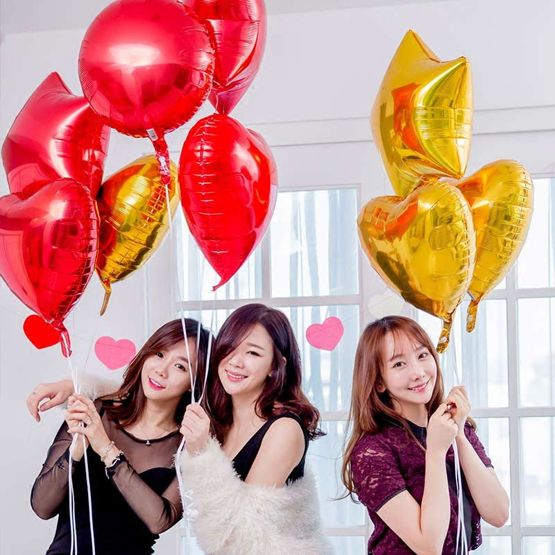18 Inch Heart Shaped Aluminum Foil Balloon Multi Color Birthday Party Graduation Proposal Marriage Holiday Balloon Decoration