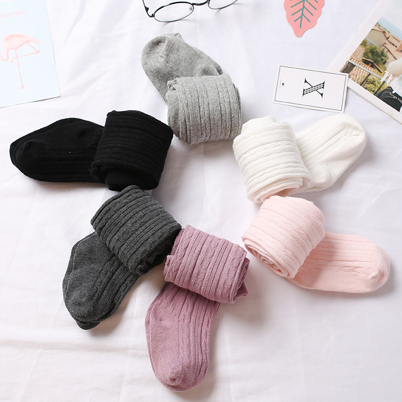 Колготки для девочек, зимние Хлопковые вязаные чулки, Детские однотонные колготки для детей, детские твист носки