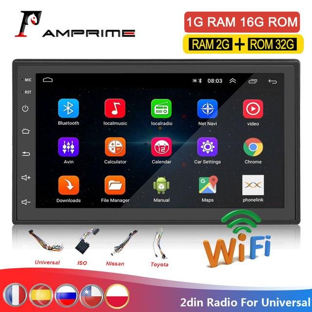 AMPrime Samochodowy odtwarzacz multimedialny 2 DIN z GPS, 7 calowy ekran, Android, Bluetooth, radio FM, wsparcie stereo, wejścia USB i AUX, MP5