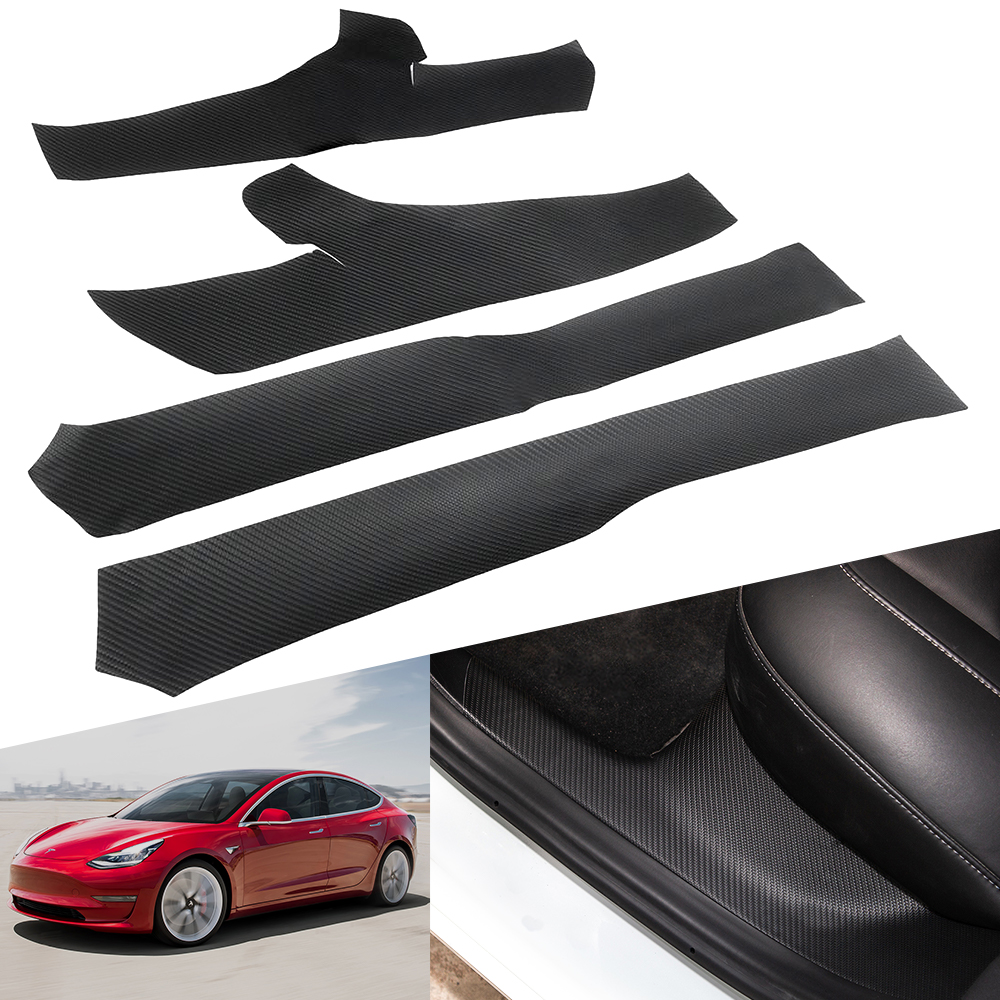 4pcs Accessories for Tesla Model 3 2020 2019 2018 Door Sill Protective Interior Sticker Car Model3 Carbon fiber Door Sill Strip