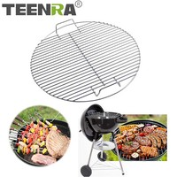 TEENRA Round Stainless Steel Barbecue Mesh Net Non stick Cook Grill Grid Grate Kitchen Cooking Outdoor Camping BBQ Tool