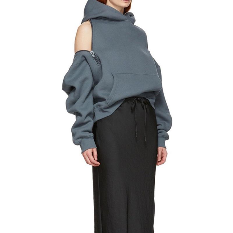 Australia Popular Brand Versatile Loose Tops 2020 Spring New Style Zipper Scheming off-Shoulder Hooded plus Velvet Hoodie