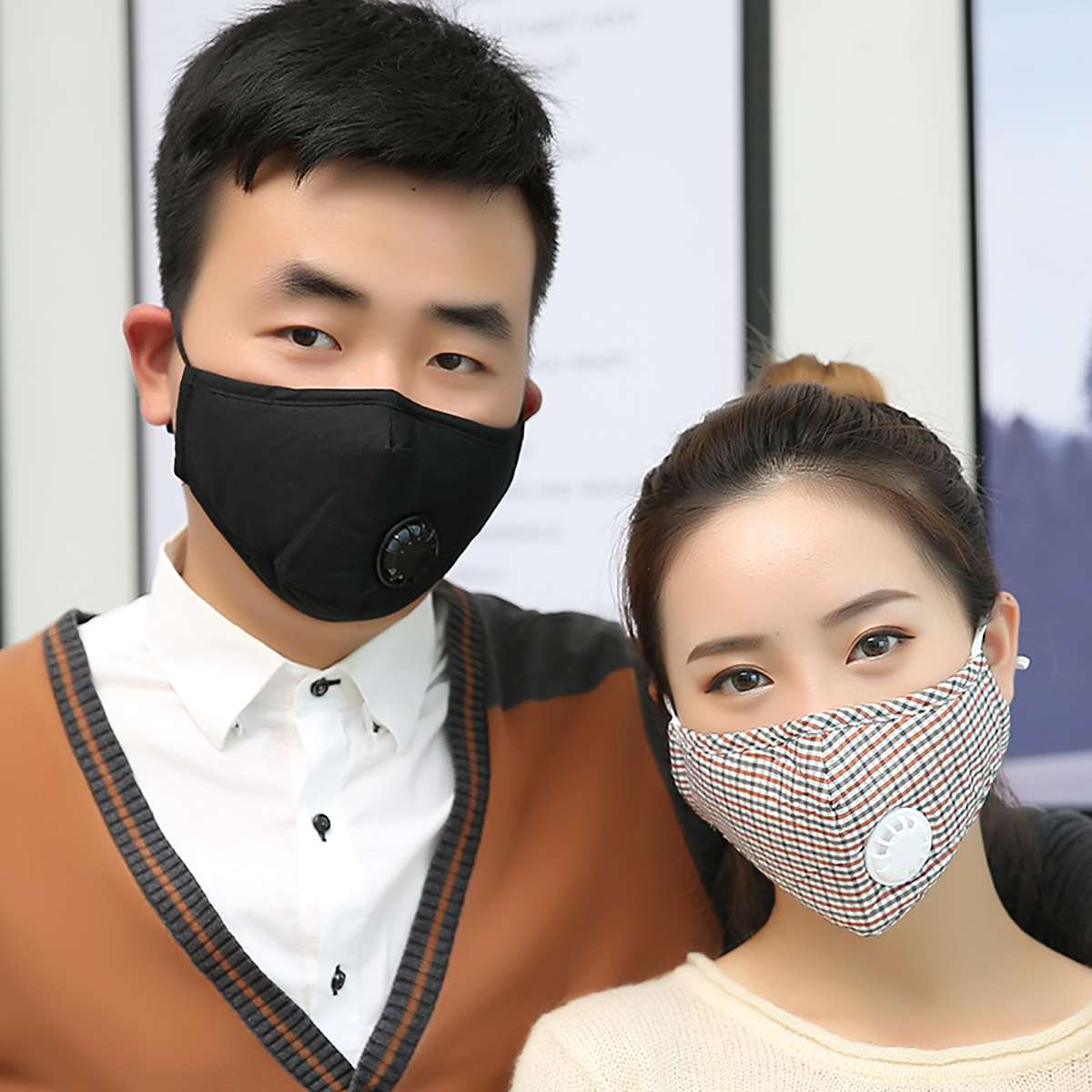 1PCS PM 2.5 Mask 10PCS Activated Carbon Filter Respirator Anti Pollution Cotton Washable Reusable Mouth Mask + Breathing Valve