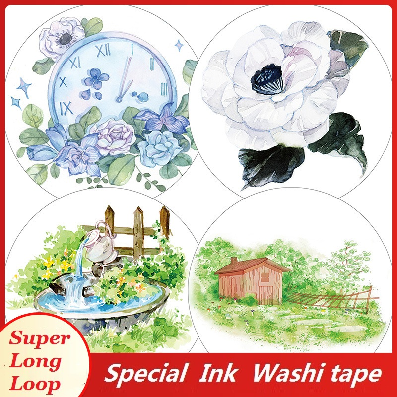 4 Designs Washi Tape Flowers Landscaping Planner Scrapbooking Japanese Decoration Adhesive DIY Masking Paper Stickers Diary Gift