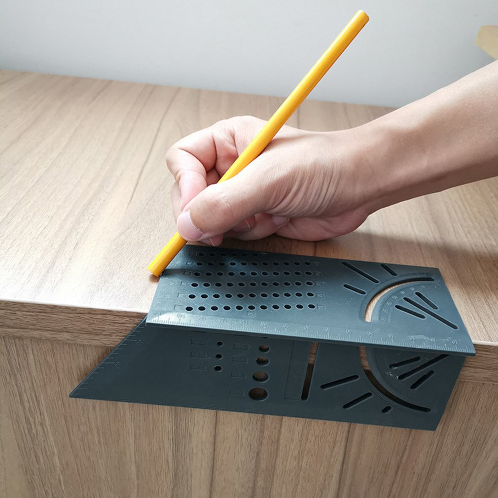 Multi-Function Square 45 Degree 90 Degree Ruler 3D Woodworking Stop Type Gauge Stop Point Ruler Ruler Green Ruler + Pen