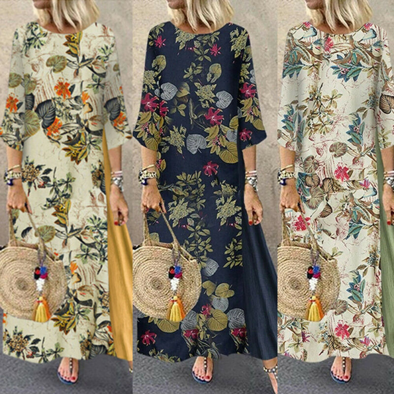 Women Floral Maxi Beach Dress Long Sleeve Casual Boho Kaftan Tunic Gypsy Ethnic