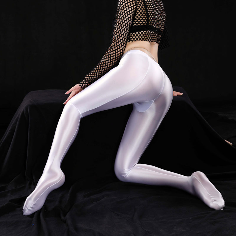 Sexy Shiny Full Pencil Pants Sexy Leggings Hips Capris Sheer See Through Full Pants Candy Color Smooth Dance Wear Plus Size F24