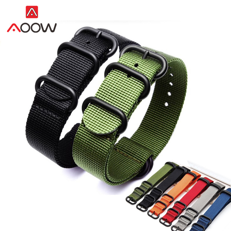 18mm 20mm 22mm 24mm Nato Nylon Strap Watchband 304L Stainless Steel Matte Buckle Men Canvas Sport Replacement Band Outdoors