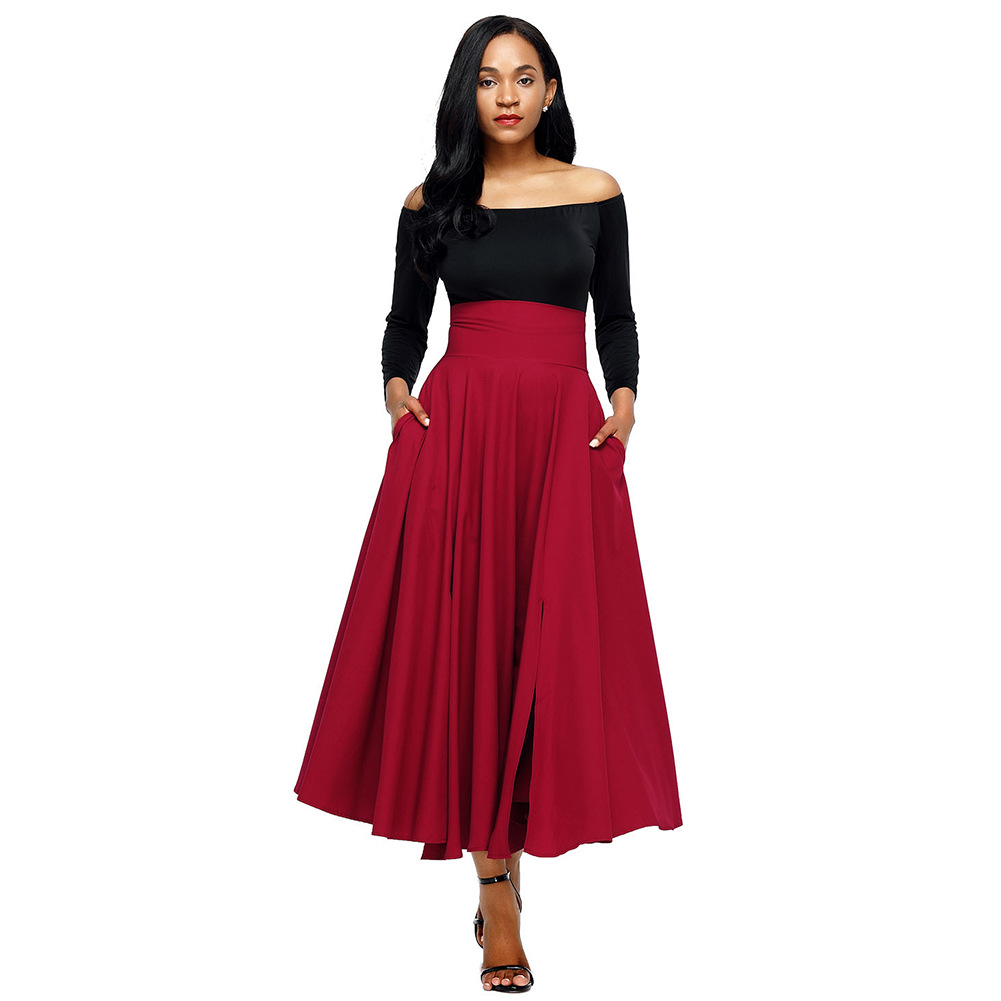 Spring Autumn Women Blue Skirt Vintage Retro  Fashion High Waist Pleated Casual Belted Long Party Skirt