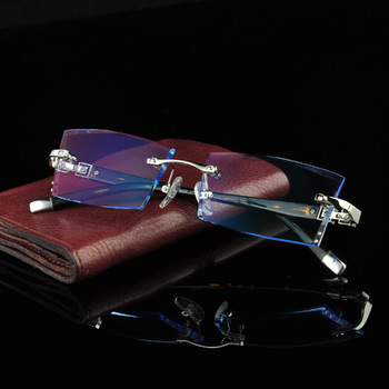 Luxurious Glasses 2016 Optical Eyeglasses Men Rimless Myopia Prescription Anti Radiation Brand Clear Hyperopia Eye Glasses 613