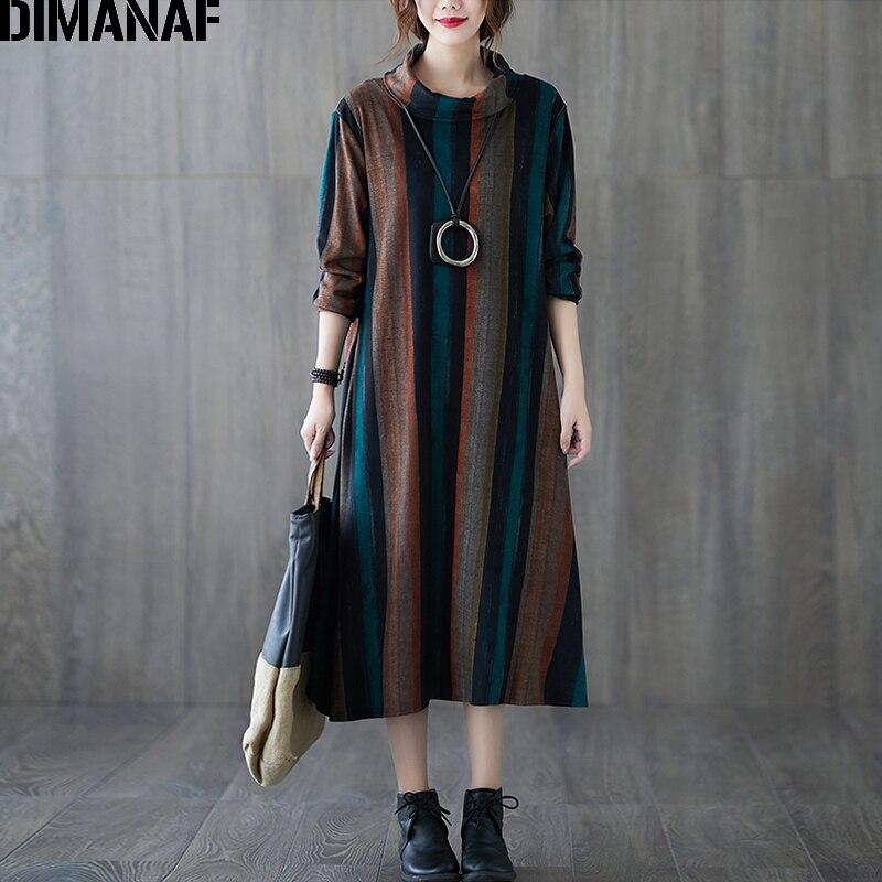 DIMANAF Vestido para mujer en tallas grandes manga larga Vintage invierno algodón grueso cuello alto Mujer Vestido suelto rayas elegante señora Vestido