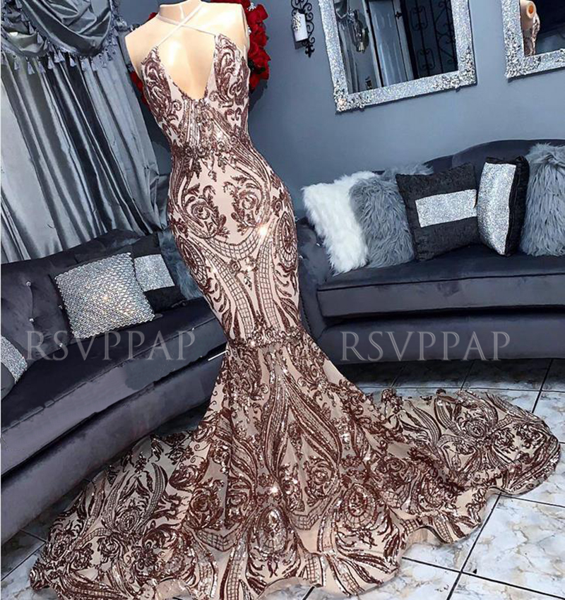 Long Prom Dress 2020 African Black Girl Real Picture Sexy Deep V-neck Gold Sequin Backless Mermaid Prom Dresses