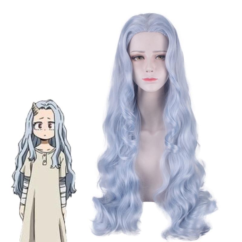 Peluca de 80cm de largo azul gris pelo sintético mezclado disfraz de Halloween Cosplay Anime Boku No My Hero