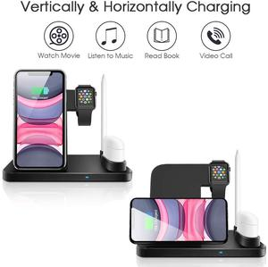 Image 3 - 4 ב 1 צ י אלחוטי מטען Stand עבור iphone 11 פרו XS MAX XR X מהיר טעינת Dock תחנה עבור אפל שעון 5 4 3 2 1 Airpods פרו