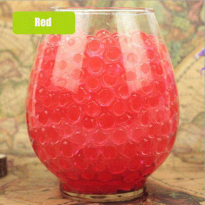 100pcs/lot Red Plant Crystal Soil Mud Grow Water Beads Hydrogel Magic Gel Jelly Balls Orbiz Growing In Water Vase Home Decor