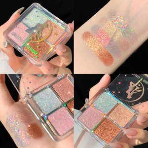 4 Colors Palette Glitter EyeShadow Pearlescent Diamond Bright Glitter Make Up Waterproof Sequin Smoky Shadows Cosmetics
