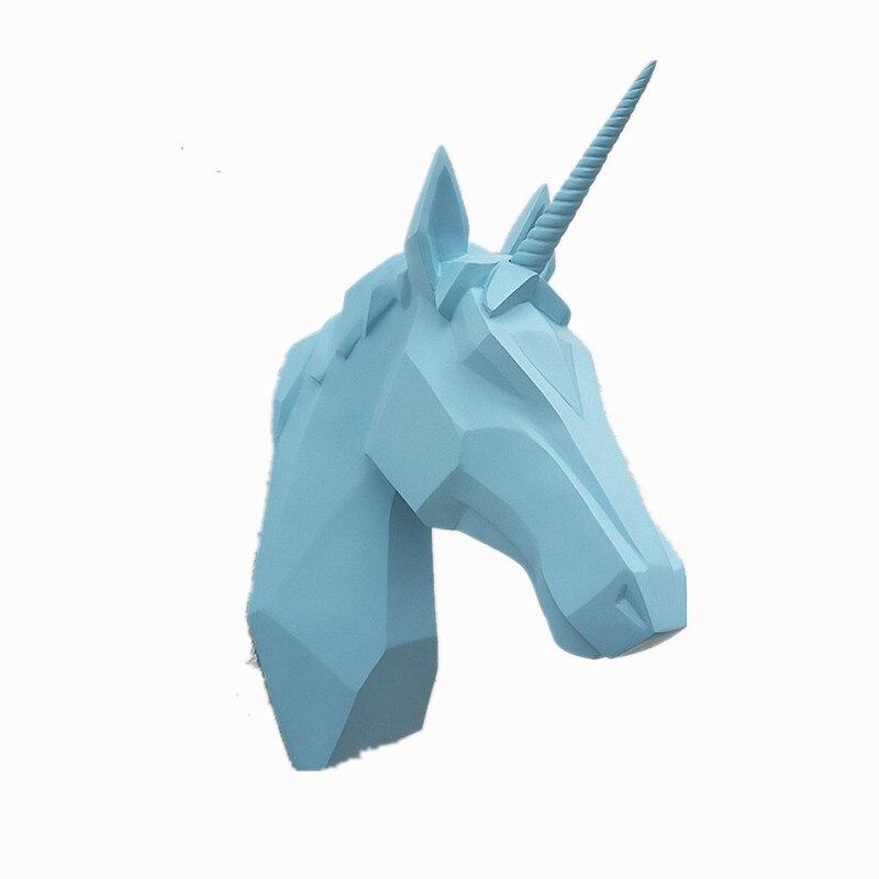 Europeo Unicorn Testa di Cavallo Figurine Della Decorazione Della Parete 3D Testa di Animale Della Resina Unicorno Scultura di Arte Della Parete Della Casa Decorazione Appesa R2689