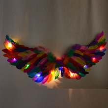 Colors LED Glow Light Angel Feather Wing Fairy Wings Props Wedding Birthday Gift Hen Party Supply Carnival Baby Shower S M L hen s pens