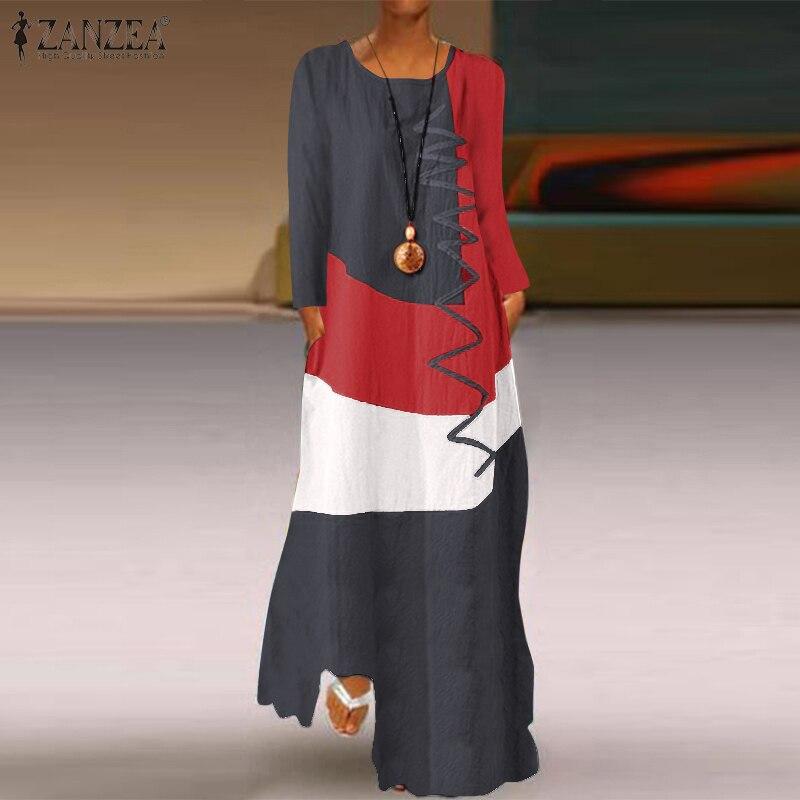 Женское винтажное платье с длинным рукавом ZANZEA, Осеннее хлопковое льняное платье, повседневный цветной сарафан, длинное платье макси, халат...