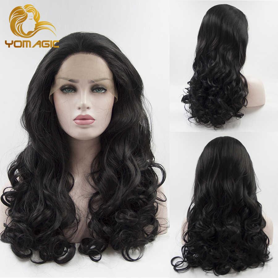 Yomagic Lange Golvende Lace Front Synthetisch Haar Pruiken Voor Vrouwen Zwarte Kleur Lijmloze Lace Pruiken Met Pre Geplukt Haarlijn