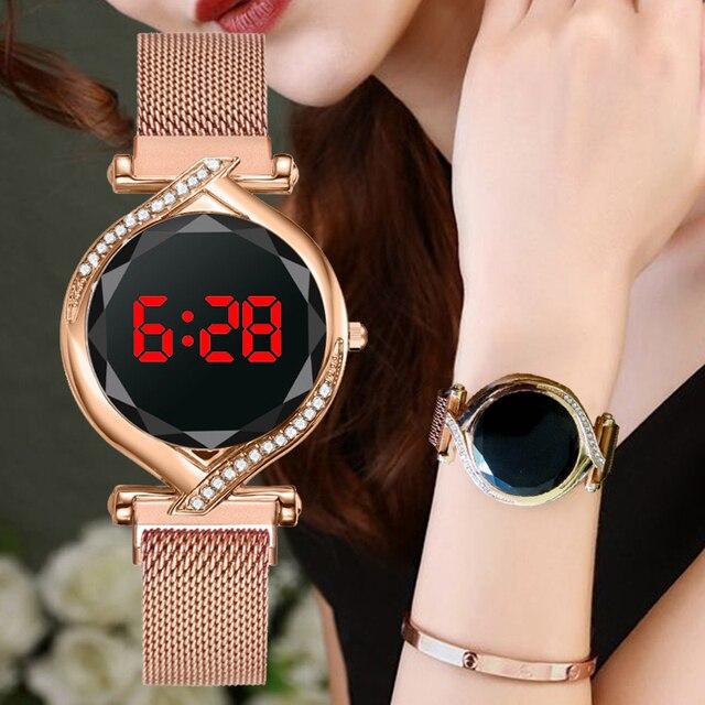 De Lujo Led rojo esfera Digital relojes de mujer Simple pulsera de las señoras vestido magnética reloj de cuarzo de lujo conjunto regalo envío de la gota 1