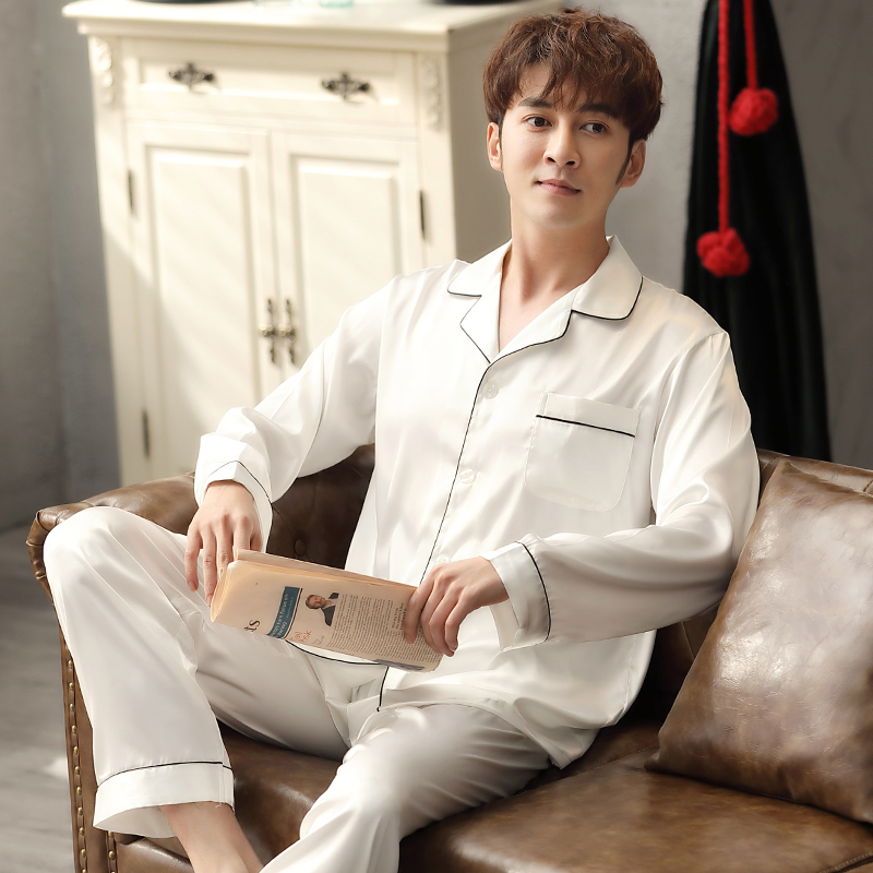 2pcs Summer Satin Pajamas Set For Men Long Sleeve Sleepwear For Men White Imitation Silk Nightwear Homewear For Male Pj Set