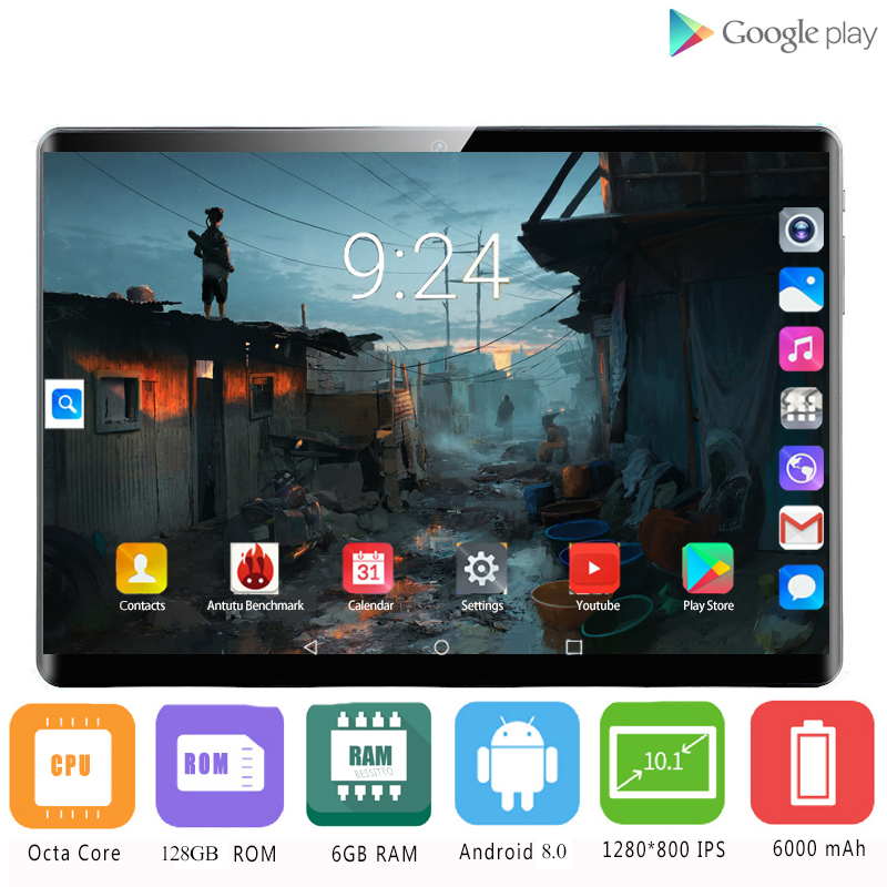 Global Version 2.5D Tempered Glass 4G LTE 10 Inch Tablet PC Octa Core 6GB RAM 128GB ROM IPS Android 8.0 OS A-GPS Tablet 10 10.1