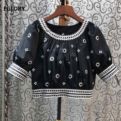 2020 Spring Summer Fashion Black Yellow Green Tops Women O-Neck Vintage Embroidery Short Sleeve Yellow Green Black Tops Ladies