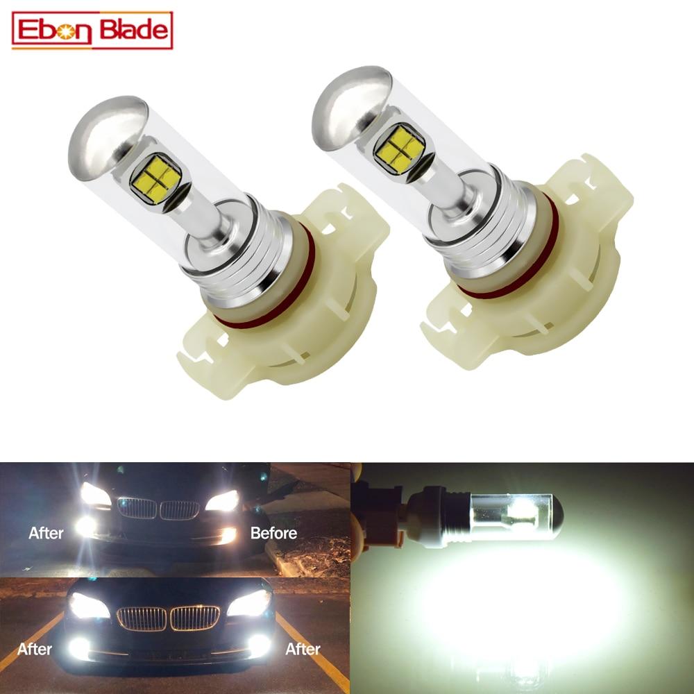 2Pcs Car Fog Lamp LED PSX24W H16 5202 Bulb XBD Chips 40W 6000K White Auto Driving Daytime Running DRL Light Sourse 12V 24V DC